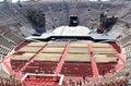 Scenery construction in old Verona Arena, Italy Stock Photo