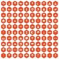 100 scenery icons hexagon orange