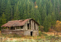 Scenery with old barn in the mountains Royalty Free Stock Images