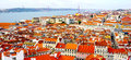 Scenery old town city from castle st jorge portugal lisbon Royalty Free Stock Photography