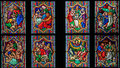 Scenes in the life of moses stained glass window depicting dom cologne germany Stock Photo