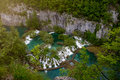 Scenic aerial view of cascades and pathway plitvice lakes national park croatia Stock Photo