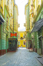 The scenic backstreet chernivtsi ukraine june located between twin houses on ivana franka street is perfect place for cozy cafes Stock Images