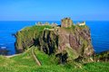 Scenic castle ruins in scotland of dunnottar along the coast of Royalty Free Stock Images