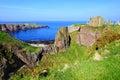 Scenic coastal scottish castle ruins of dunnottar along the coast of scotland Stock Photos