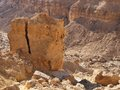 Scenic cracked orange rock in stone desert Stock Photography