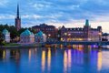 Scenic evening panorama of Stockholm, Sweden Stock Image