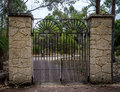 Scenic forged gate entrance in Yanchep National Park Royalty Free Stock Photo