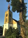 A small village church in Poland golden hour light