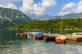 The scenic lake Bohinj Royalty Free Stock Photo