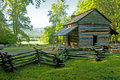 Scenic log cabin in Cades Cove. Royalty Free Stock Photo