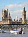 Scenic london big ben sightseeing with view on westminster palace and river thames from waterloo bridge Royalty Free Stock Images