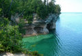 Scenic michigan great lakes emerald waters at pictured rocks national park on lake superior in upper peninsula usa Royalty Free Stock Photos