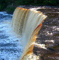 Scenic michigan waterfall tahquamenon falls and rapids on river in upper peninsula Royalty Free Stock Photo