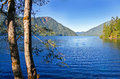 Scenic Mountain blue Lake with transparent water. Nice landscape Royalty Free Stock Photo