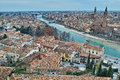 Scenic mediterranean city at river aerial view Royalty Free Stock Photo