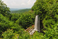 Scenic overlook in southeast virginia waterfall and distant mountain range from allegheny mountains of southeastern Stock Photo
