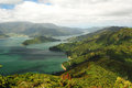 Scenic Queen Charlotte sound from a hill top Stock Photos