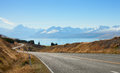 Scenic road to mount cook national park new zealand Stock Image