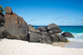 Scenic rocks on Shelley Beach in West Cape Howe National Park near Albany Royalty Free Stock Photo