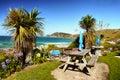 Scenic Seashore Bench Royalty Free Stock Photo