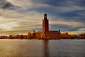 Scenic summer view of the City Hall castle in the Old Town (Gamla Stan) in Stockholm Royalty Free Stock Photo
