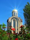 Scenic summer view of orthodox church with golden cupola Stock Photos