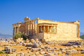 Scenic view of ancient ruins and Erechteion temple, Acropolis Royalty Free Stock Photo