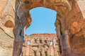 Scenic view through arch on the ruins of the ancient roman Baths of Caracalla ( Thermae Antoninianae ) Royalty Free Stock Photo