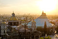 Scenic view at Basilica of Guadalupe with Mexico city skyline Royalty Free Stock Photo