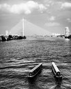 Scenic view chao praya river bangkok including rama bridge river taxi black white photo Stock Photo