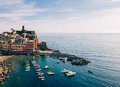 Scenic view of colorful village Vernazza in Cinque Terre, Italy Royalty Free Stock Photo