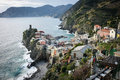 Scenic view of colorful village Vernazza in Cinque Terre Royalty Free Stock Photo