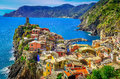 Scenic view of colorful village Vernazza and ocean coast, Cinque Royalty Free Stock Photo