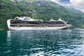 Scenic view of cruise ship crown princess geirang geiranger norway august standing at anchor in geiranger fjord Royalty Free Stock Photo