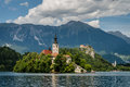Scenic view of dominants of lake bled vertical famous pilgrimage church in middle slovenia church is accessible only by water and Stock Photos