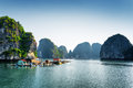 Scenic view of floating fishing village in the ha long bay halong descending dragon at gulf tonkin south china sea Stock Photos