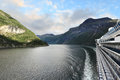 Scenic view of geirangerfjord norway from the deck cruise ship Royalty Free Stock Photography