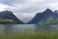 Water, mountains, grass, rain clouds. Scenic view of fjord in Norway. Nature landscape. Royalty Free Stock Photo