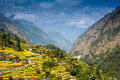Scenic view of the himalaya mountains and villages Royalty Free Stock Image