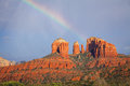 Scenic view iconic cathedral rock near sedona arizona rainbow overhead Royalty Free Stock Photos