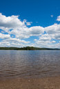 Scenic view of a lake and the forest image on calm day against backdrop at algonquin park ontario canada Stock Image