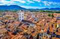 Scenic view of lucca village in italy colorful from torre delle ore Stock Image