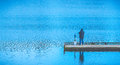 Scenic view of a man fishing on a pier in a big lake in the park. Royalty Free Stock Photo