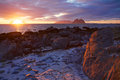 Scenic view of midnight sun on the beach of lofoten islands in norway Stock Image