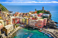 Scenic view of ocean and harbor in colorful village Vernazza, Ci Royalty Free Stock Photo