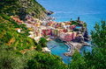 Scenic view of ocean and harbor in colorful village vernazza ci cinque terre italy Stock Photos