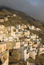 Scenic view of Olympos at dusk - Karpathos Stock Photography