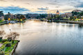 Scenic view over the lake of EUR in Rome, Italy Royalty Free Stock Photo