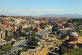 Scenic view over the ruins of the Roman Forum in Rome, Italy. Royalty Free Stock Photo